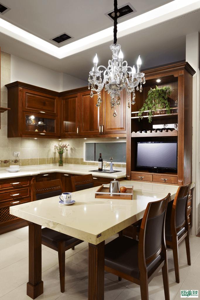 格蘭登廚具 古典實木系列 柚木 新竹作品 便餐桌與儲櫃