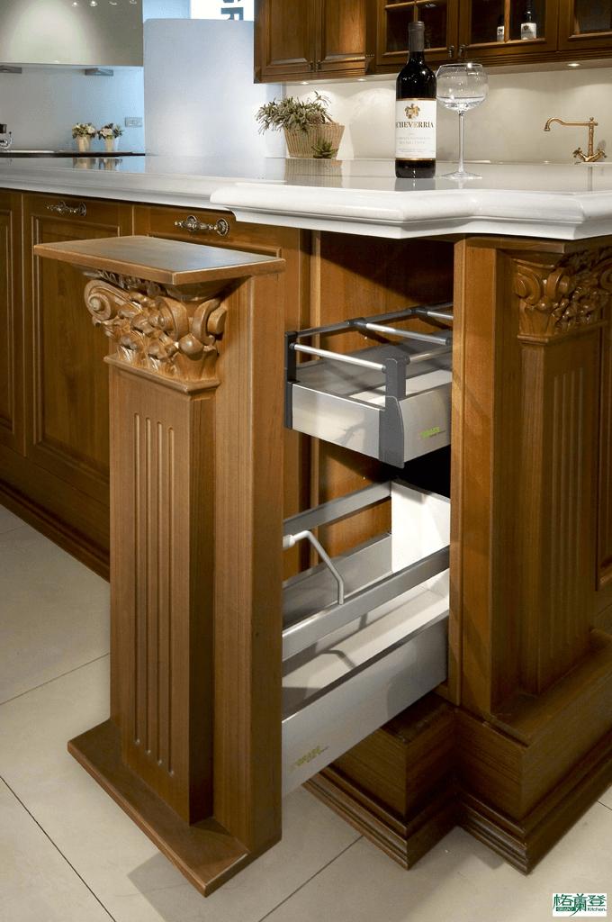 格蘭登廚具 古典實木系列 柚木 台北作品 收納空間