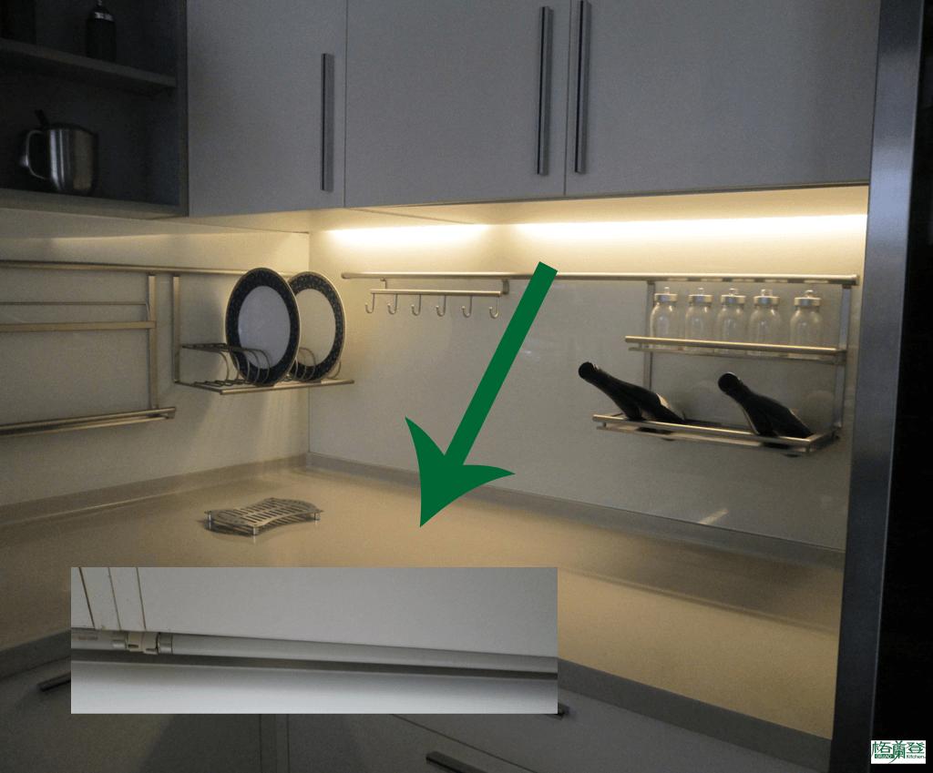 格蘭登廚具 現代極簡系列 陶瓷烤漆 新竹作品 儲下照明燈管位置
