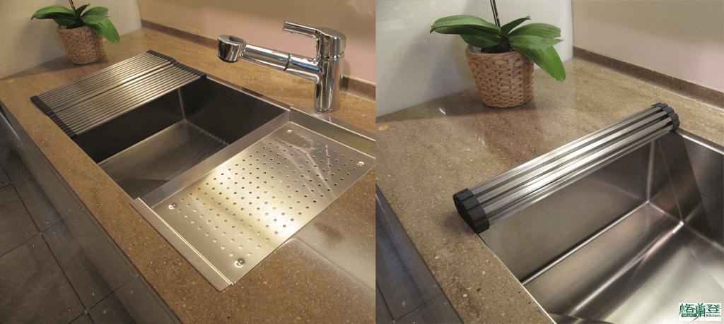 格蘭登廚具 現代極簡系列 烤漆玻璃 新竹作品 可攜式瀝水盤