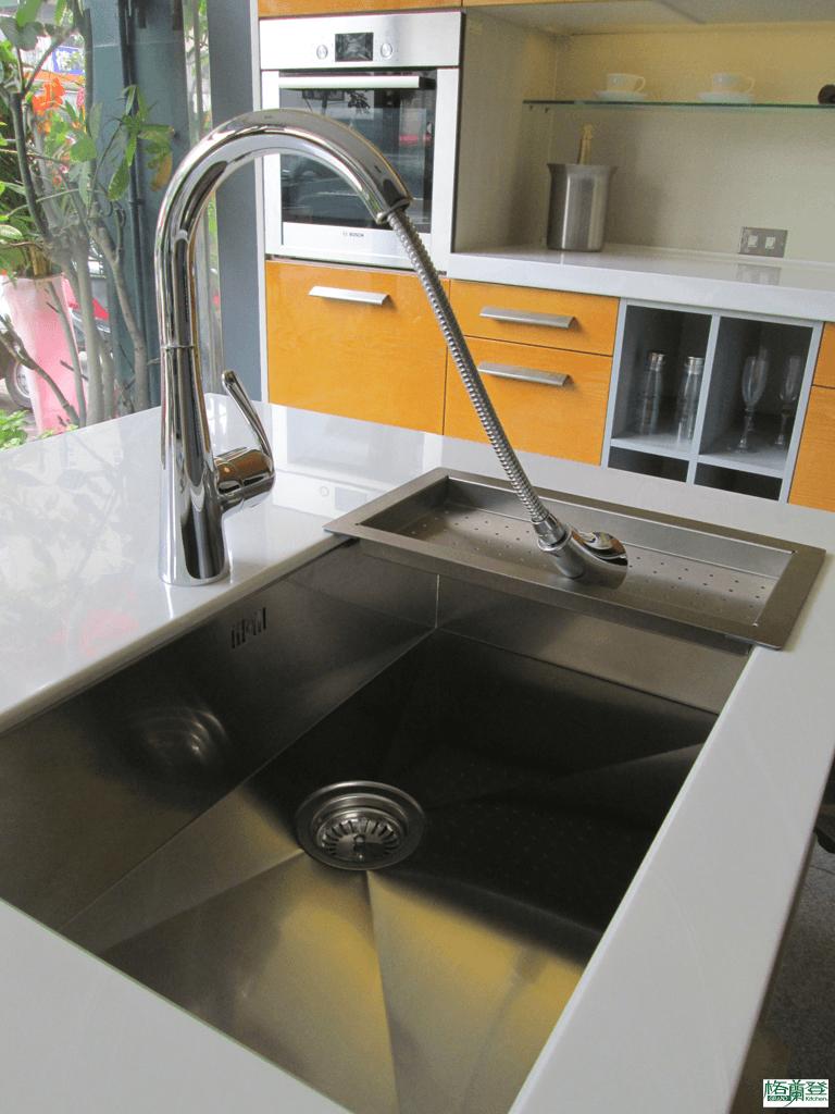 格蘭登廚具 現代極簡系列 新竹作品 樣品介紹 德國Blanco水槽與伸縮龍頭
