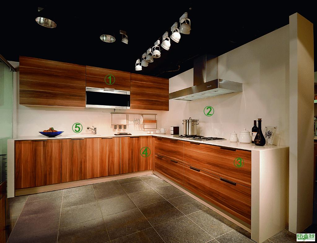 格蘭登廚具 現代極簡系列 MFC木紋 台北作品 特色指引圖